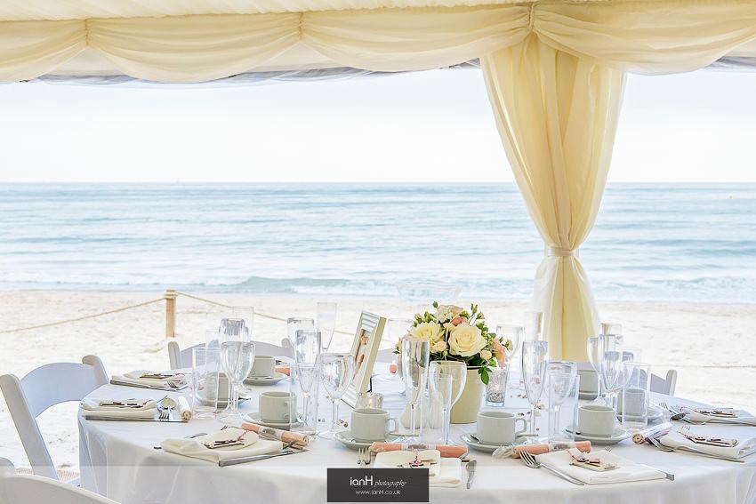 Champagne reception at Bournemouth beach wedding