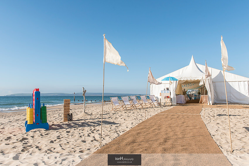 Wedding marquee on sunny Bournemouth beach