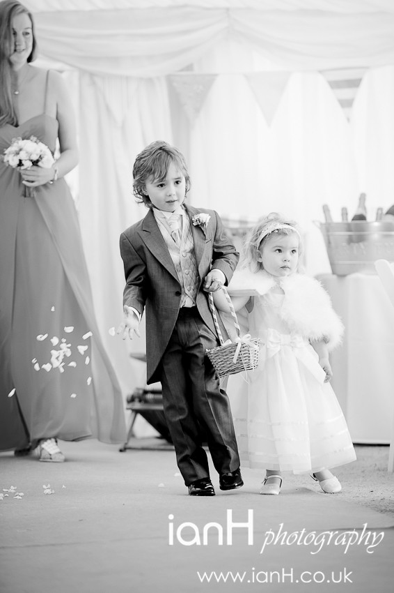 Page Boy and Flower Girl lead the wedding party - Dorset wedding photography