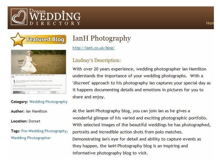 Blog featured on Dream Wedding Directory