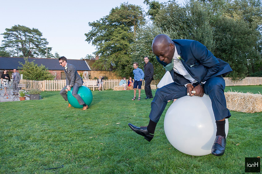 Spacehopper races at Sopley Mill wedding