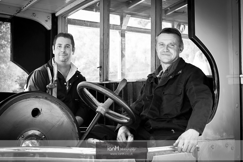 Steam bus driver and engineer