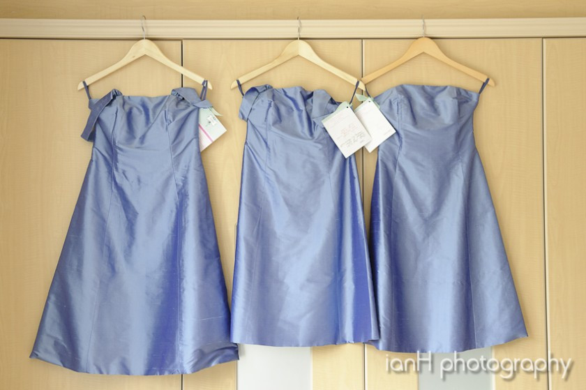 Bridesmaid dresses hanging up