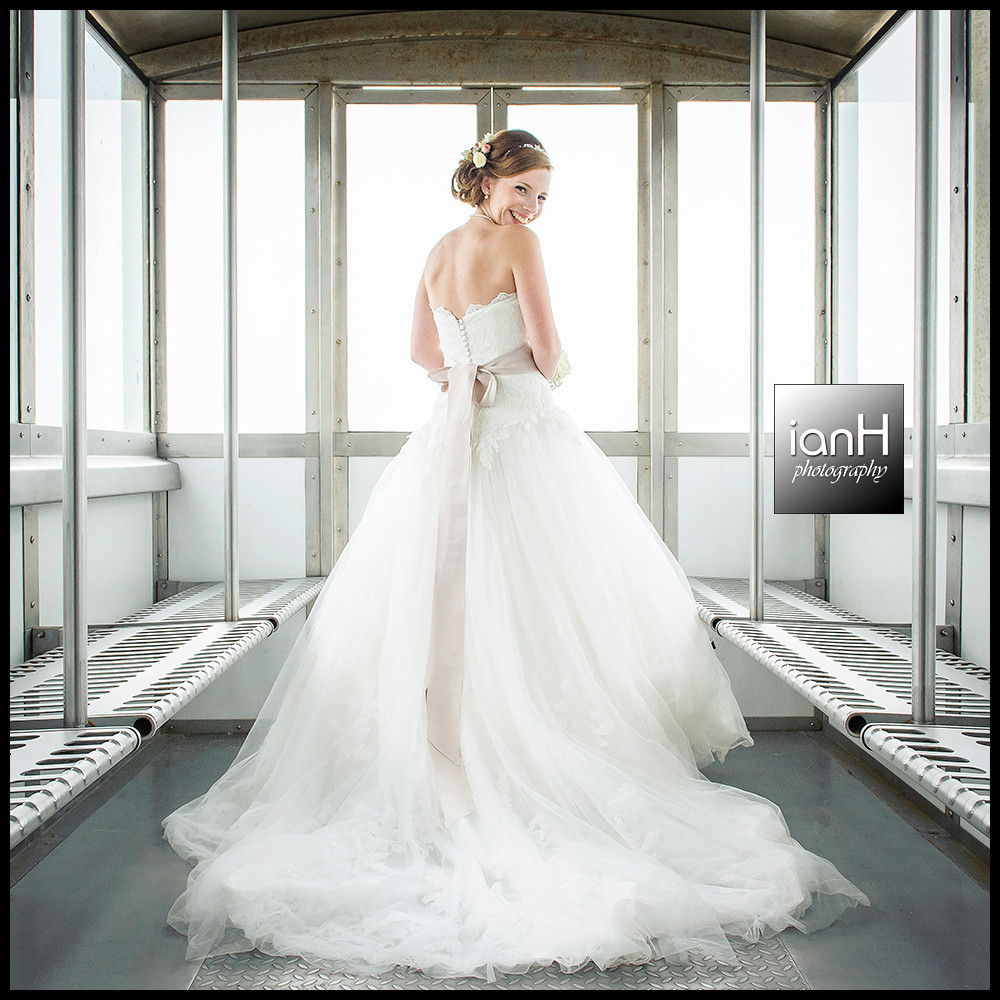 Dorset wedding photographer - Bride in a lift