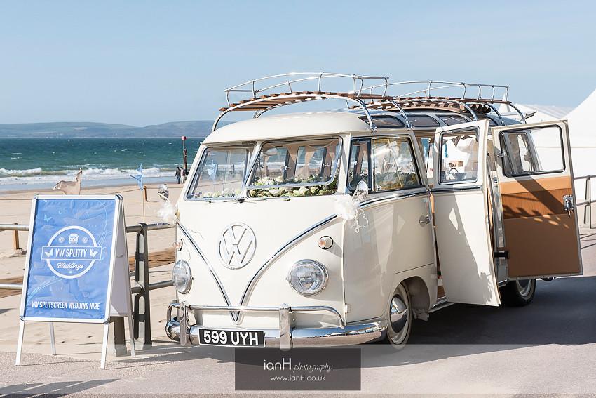 VW camper on Bournemouth beach