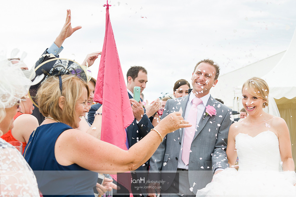 Confetti at beautiful Bournemouth beach wedding