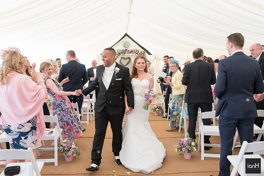 Bride and Groom recessional at Beach Weddings Bournemouth