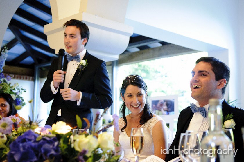Wedding speech and laughter from bridal party