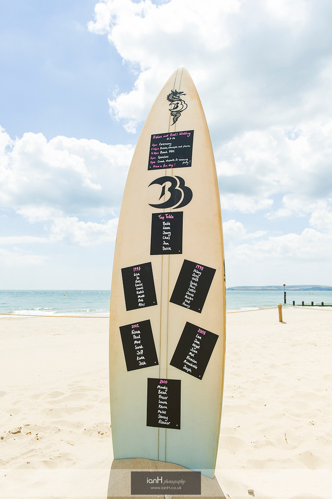 Surf board table plan at Bournemouth beach wedding
