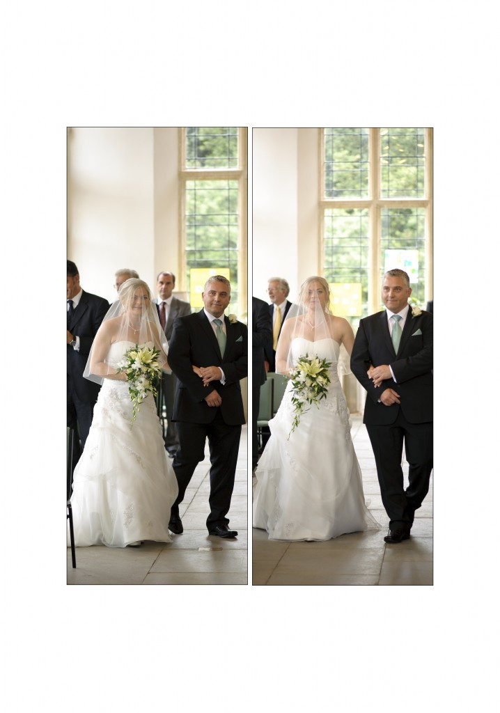 Highcliffe Castle Dorset wedding - bride walks up the aisle