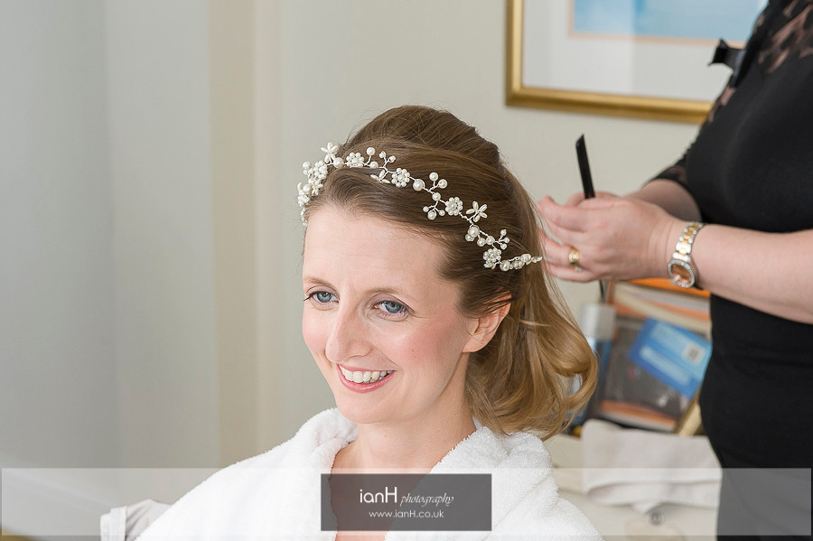 Bride getting ready at Bournemouth Marriott
