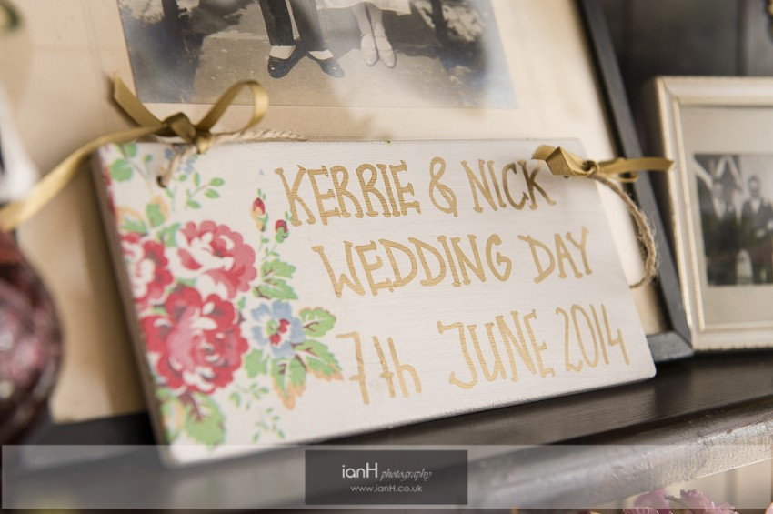 Handpainted wedding sign for vintage Studland wedding
