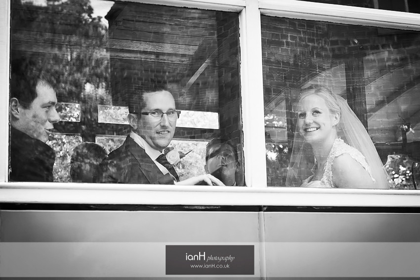 Bride and Groom on board a steam bus