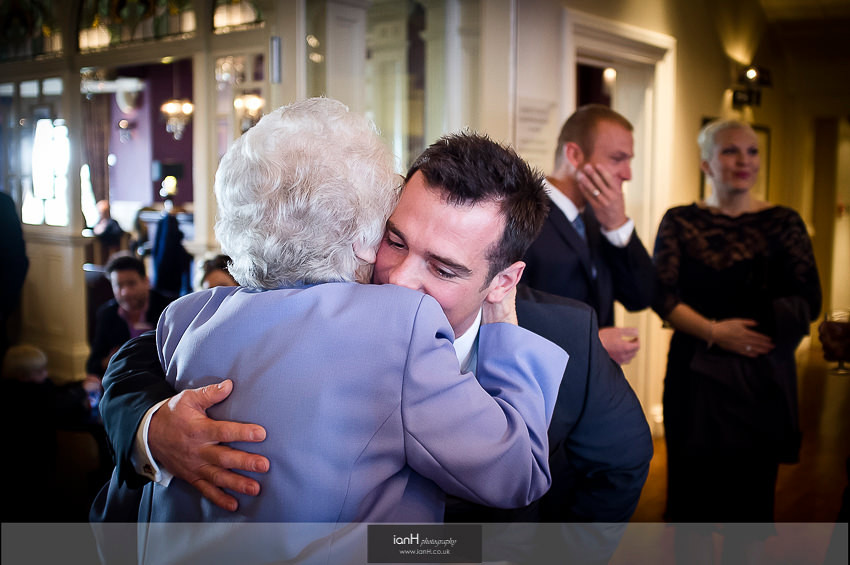 Grrom hugs his Grandmother at his Bournemouth wedding