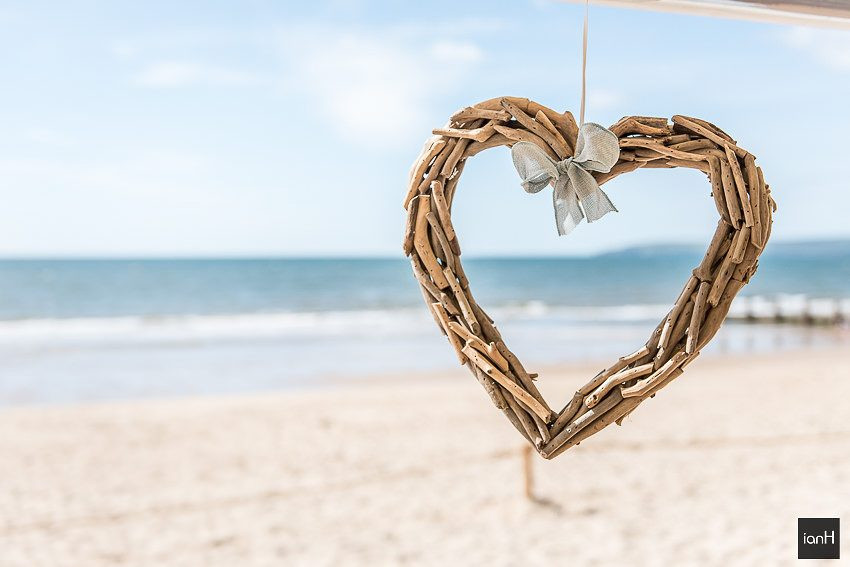 Driftwood heart on Bournemouth beach