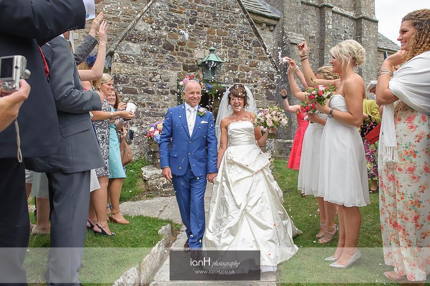 Studland wedding confetti walk