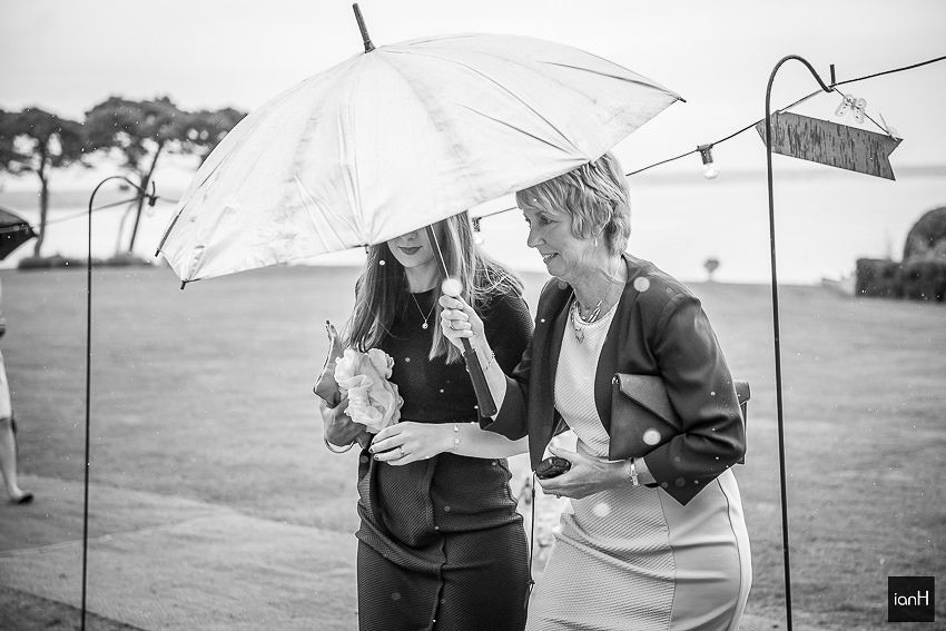wet weather wedding guests black and white