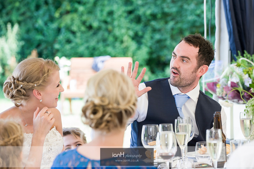 Shocked Groom during the Father's speech