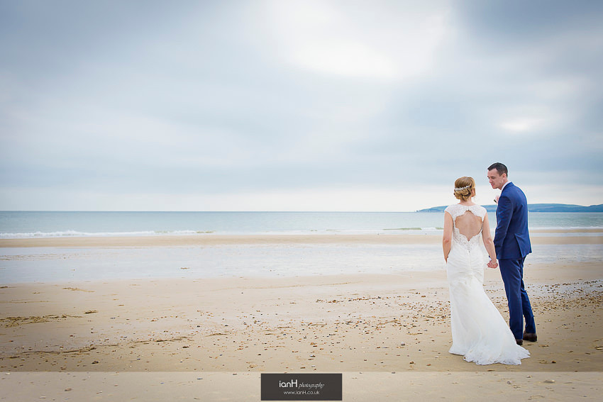 Moody sky for Bride and Groom on Bournemouth beach