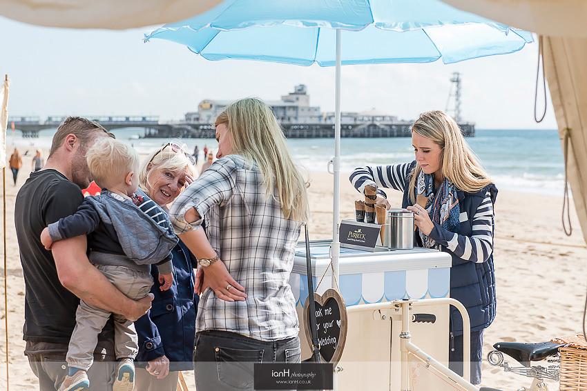 Ice cream for Bournemouth beach wedding