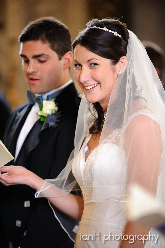 Smiling Bride at the altar in Bournemouth Dorset
