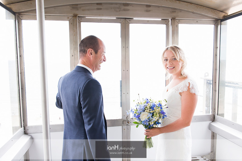 Bride and Father in Bournemouth cliff-lift