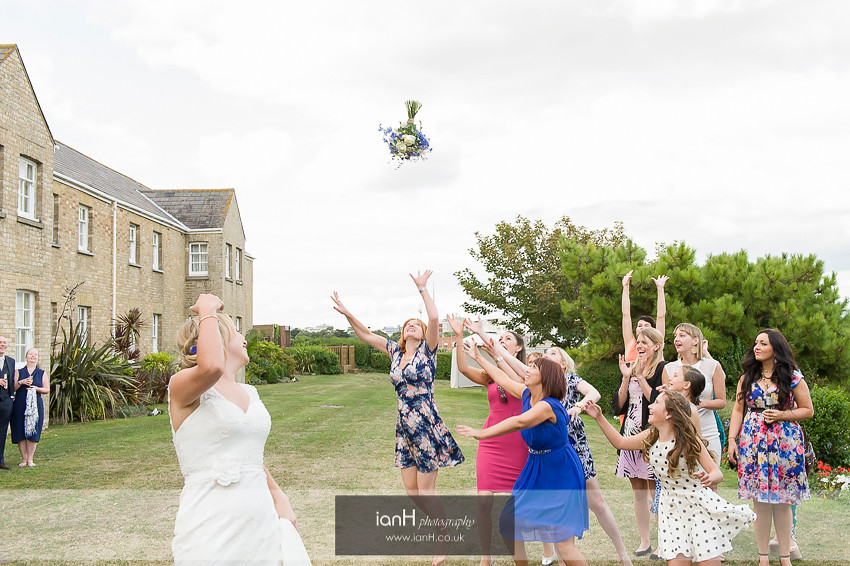 The bouquet toss at the Bournemouth Marriott Highcliff Hotel