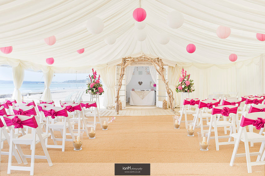 Pink themend marquee for Bournemouth beach wedding