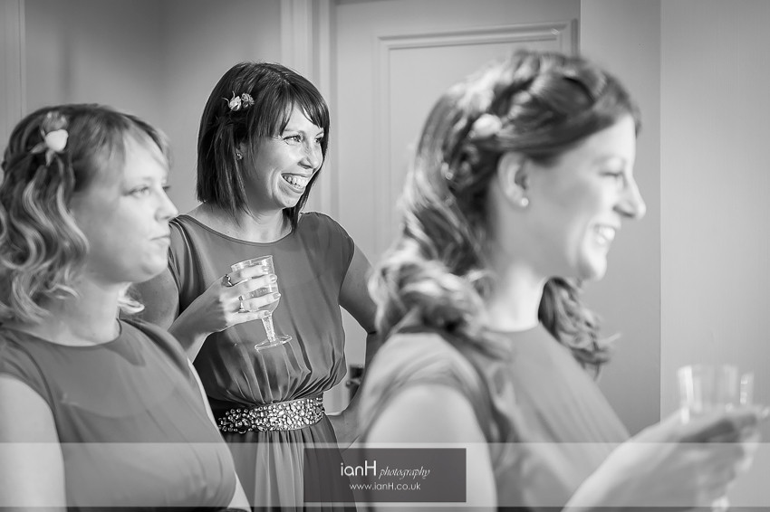 Bridesmaids with champagne at Marriott Bournemouth
