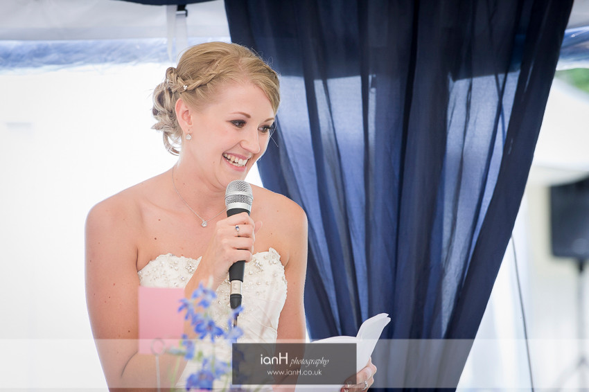 Smiling Bride gives a speech