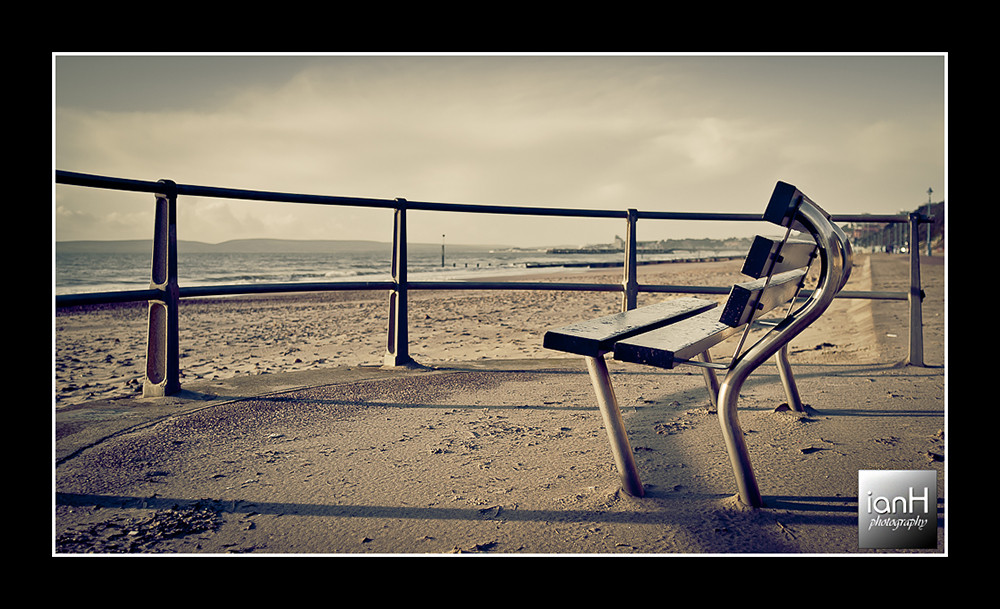 Modern-bench-on-the-promenade-of-Bournemouth-beach