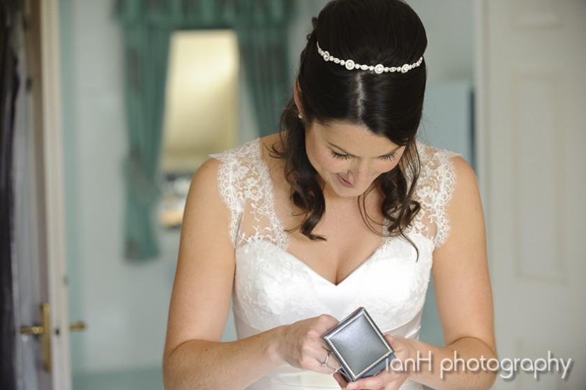 Bride opening her wedding present