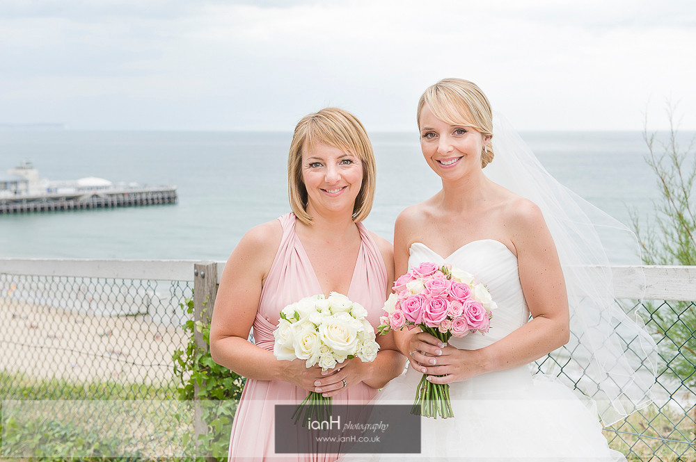 Bide and Bridesmaid on Bournemouth clifftop