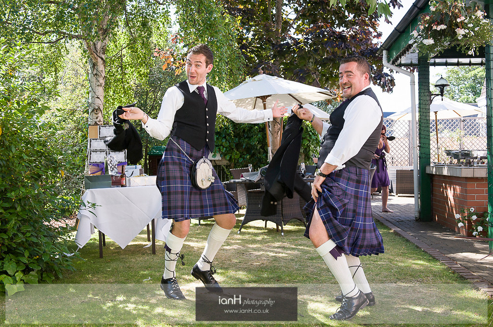 Purple kilts at Bournemouth wedding