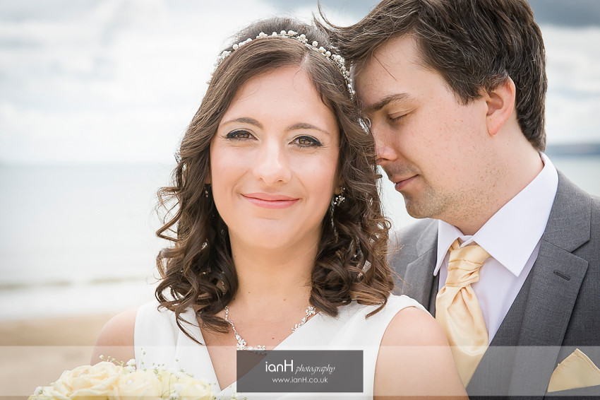 Bride and Groom portrait on Bournemouth beach