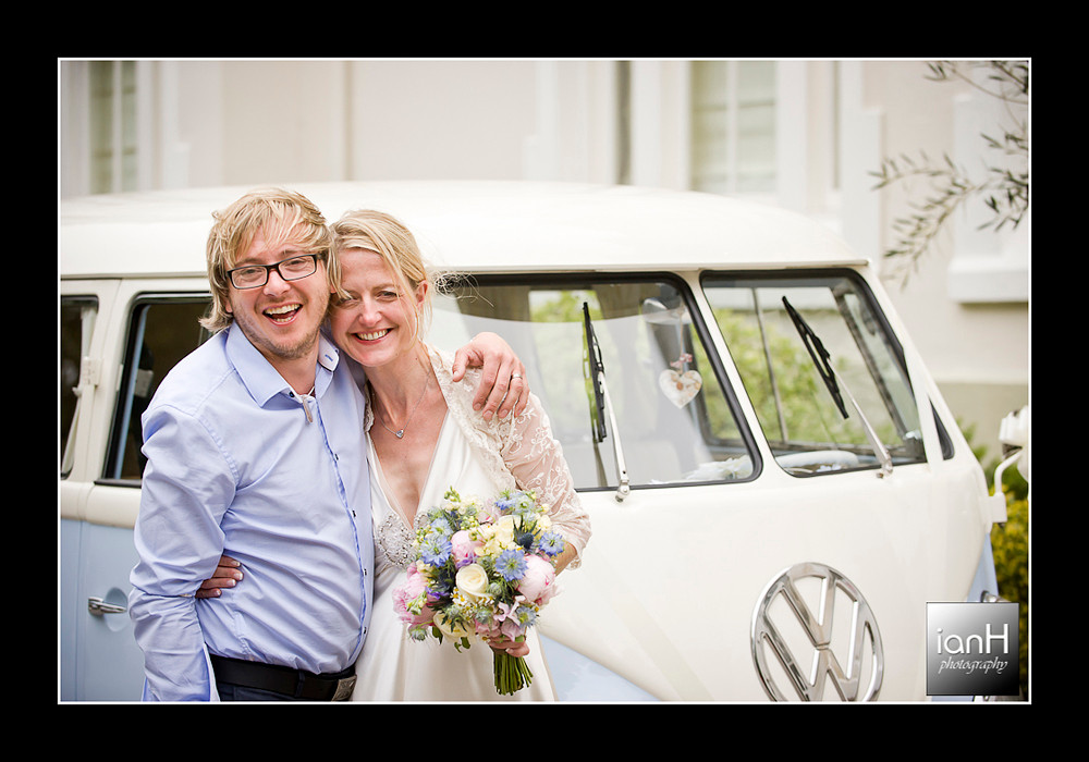 bride-and-groom-with-vw-camper-bournemouth-beach-wedding-anniversary