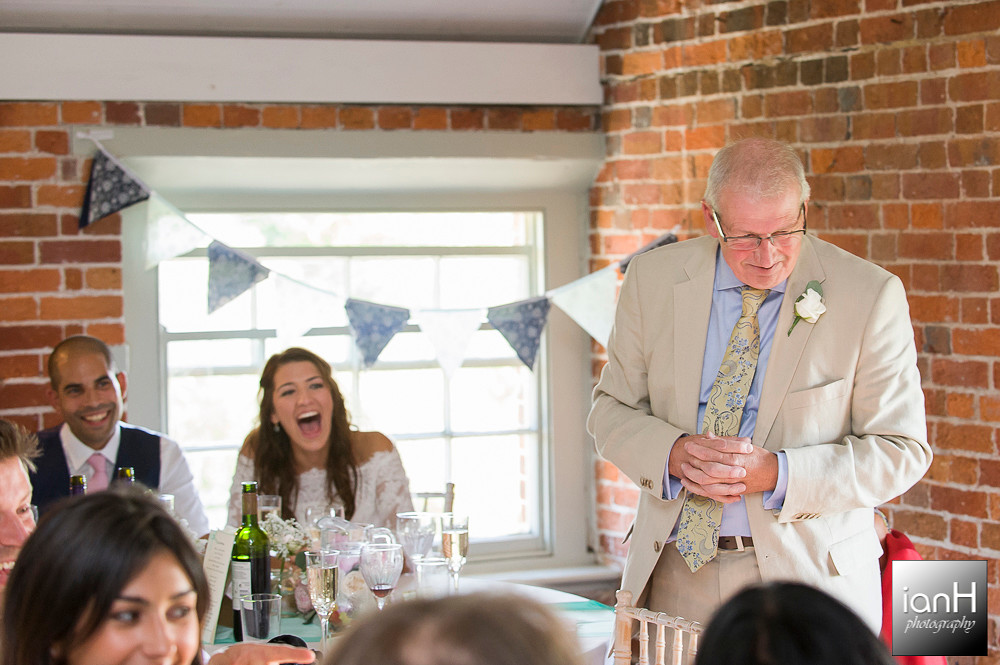 Wedding speeches at Sopley Mill