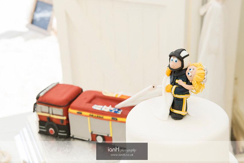 Fireman wedding cake for a beach wedding