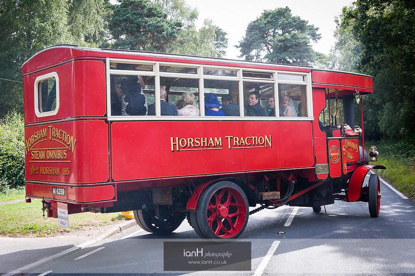Steam bus wedding transport