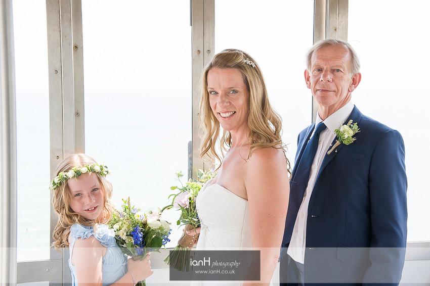 Beach Bride in Bournemouth cliff-lift