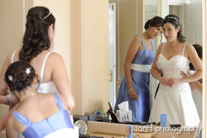 Bride and bridesmaids preparing before the wedding