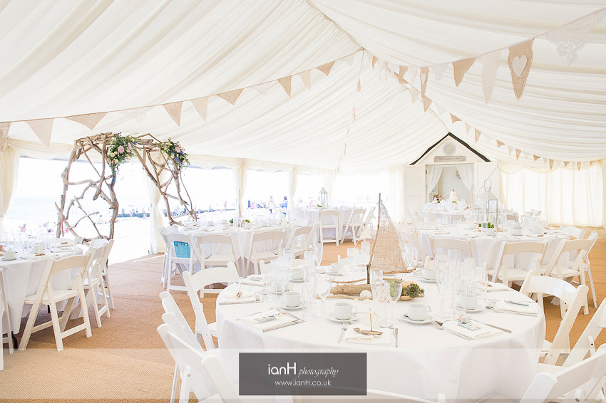 Beach Weddings Bournemouth marquee set for the wedding reception
