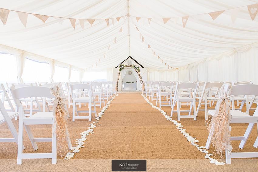 Bournemouth beach wedding marquee