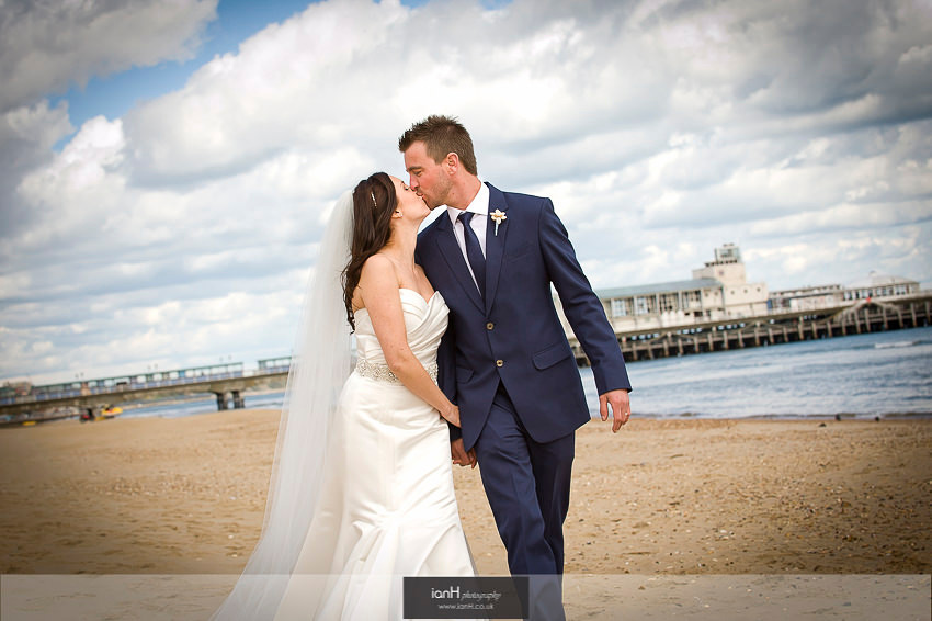 Bride and Groom kissing at Beach Weddings Bournemouth