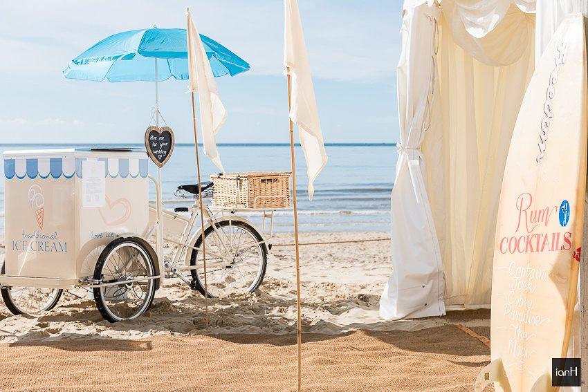 Ice cream trike and surfboard at Beach Weddings Bournemouth