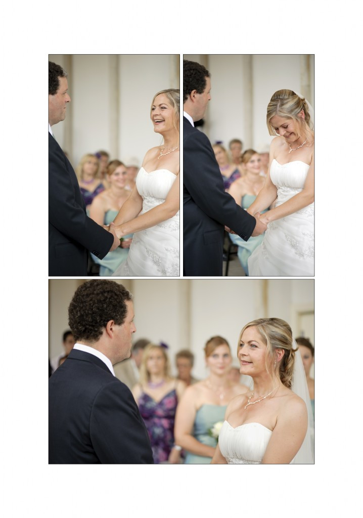 Highcliffe Castle wedding - bride and groom exchanging vows