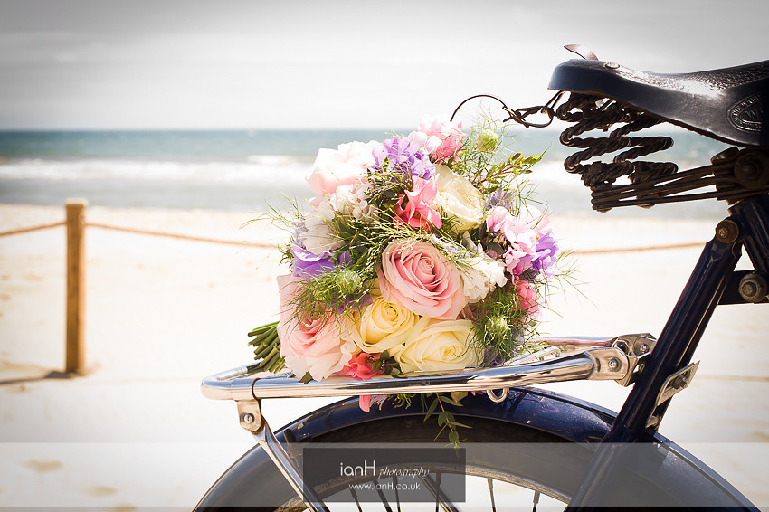 Wedding flowers on Bournemouth beach