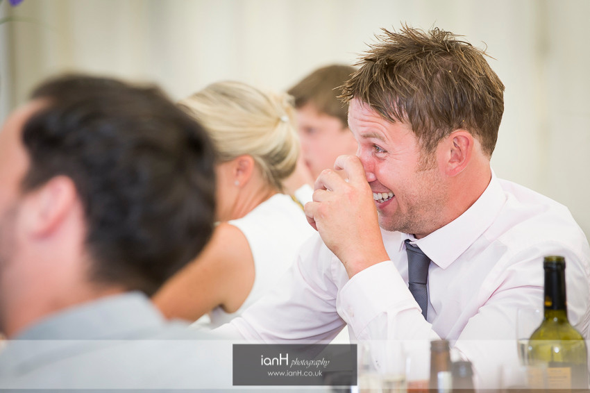 Tears of laughter during the wedding speech