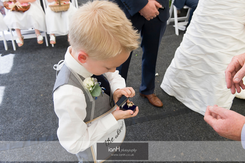 Cute ring bearer at this Hampshire wedding