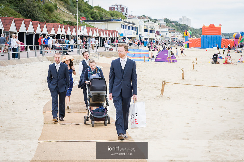 Groom and Ushers arrive at Beach Weddings Bournemouth